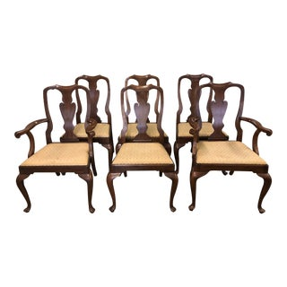 Henkel Harris Queen Anne Solid Cherry Dining Chairs - Set of 6 For Sale