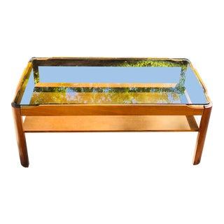 Mid-Century Wood With Smoke Glass Coffee Table