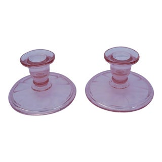 Vintage Mid-Century Blush Pink Glass Candleholders - a Pair