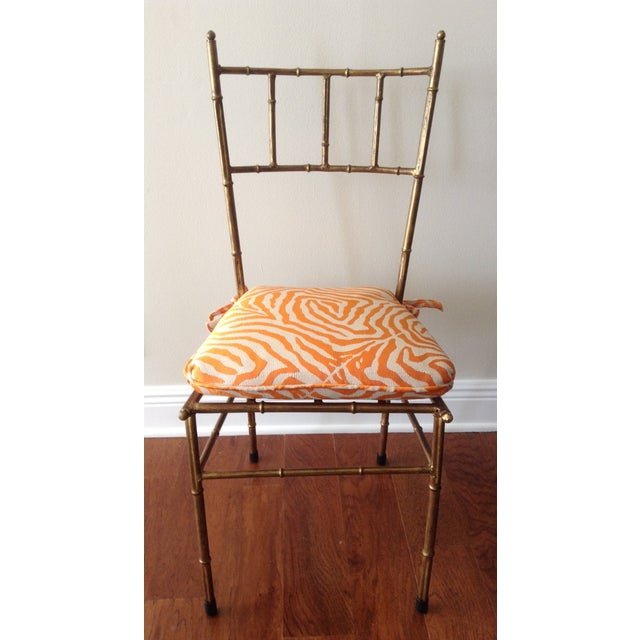 Italian Gilt Metal Faux Bamboo-Style Chair - Image 2 of 7