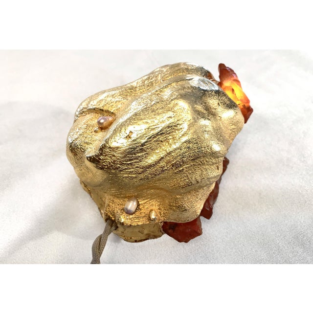 """Abstract Light Sculpture: Desert Burl Series """"Abalone"""" Lamp, Gems, Gold For Sale - Image 3 of 4"""