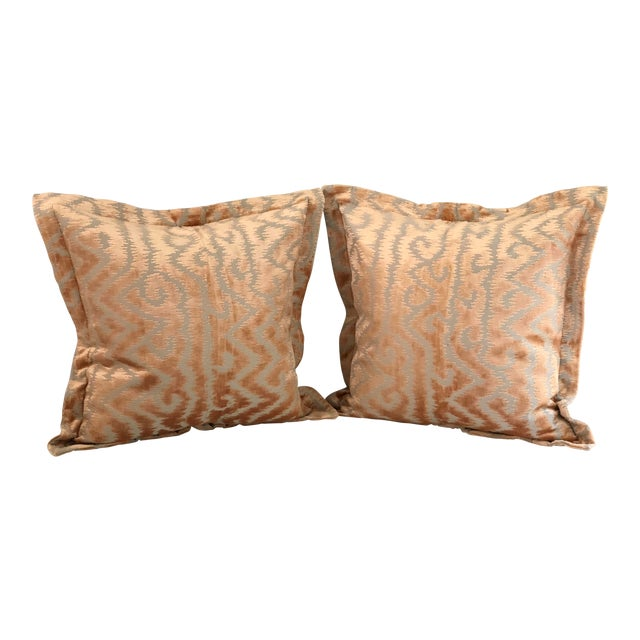 """24"""" Taupe and Blush Cut Velvet Pillows by Jim Thompson - a Pair For Sale"""