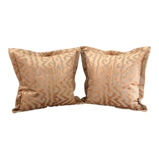 "Pair of 24"" Taupe and Blush Cut Velvet Pillows by Jim Thompson"