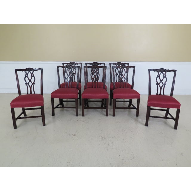 Kindel Chippendale Carved Mahogany Dining Room Chairs - Set of 8