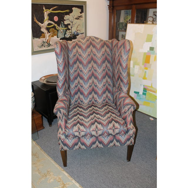 Textile Late 20th Century Flame Stitch Wing Chair For Sale - Image 7 of 8