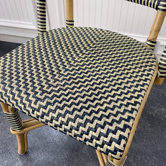 Late 20th Century Vintage Leather Woven Bistro Chair (Navy&White) For Sale - Image 5 of 8