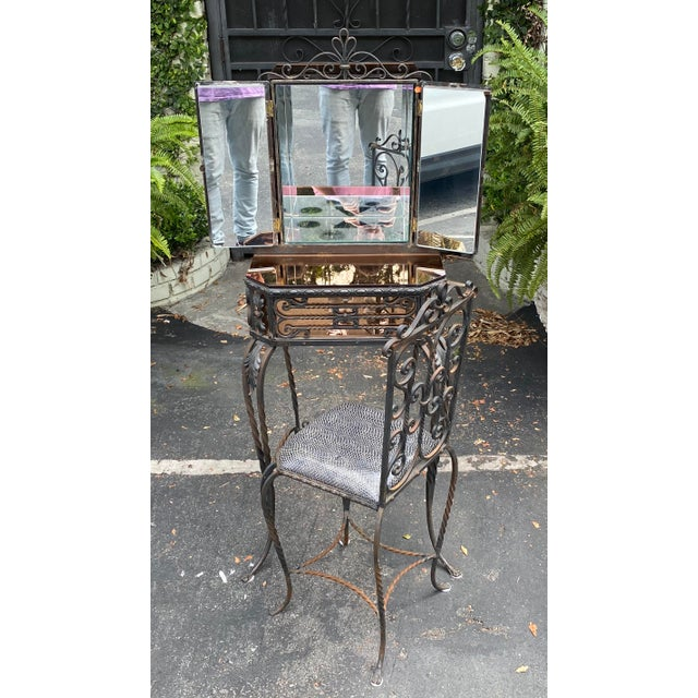 Antique Art Deco Spanish Wrought Iron Champagne Mirrored Vanity & Chair - a Pair For Sale - Image 4 of 11