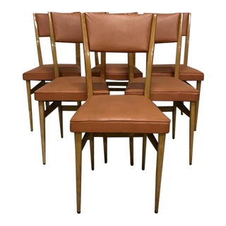 Orange Naugahyde Mid-Century Dining Chairs - Set of 6 For Sale