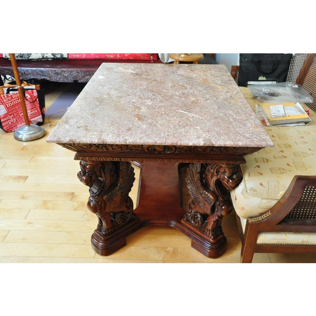 Vintage Renaissance Style Wood Carved Winged Griffin Table and Pink Granite Top For Sale - Image 4 of 13