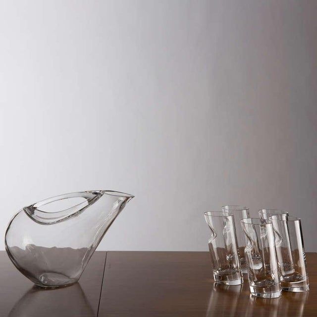 Colle Cristalleria Crystal Pitcher and Glasses by Angelo Mangiarotti For Sale - Image 4 of 9