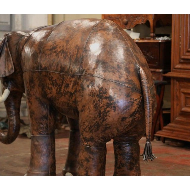 White Vintage Life Size Patinated Brown Leather Calf Baby Elephant For Sale - Image 8 of 9