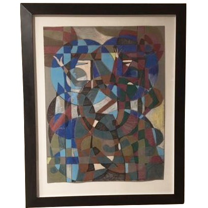 """Aoe"" Mid-Century Abstract Painting - Image 1 of 5"