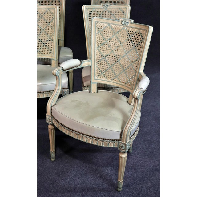 Set of 8 French Louis XVI Style Caned Back Dining Chairs For Sale - Image 4 of 13