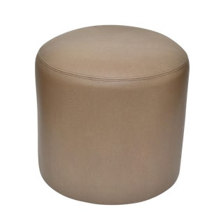 Original Round Shagreen Leather Ottoman For Sale