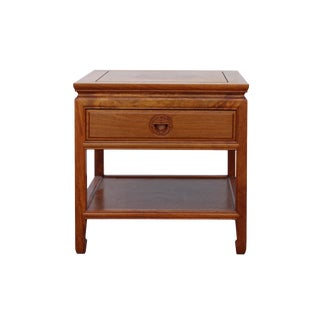 Chinese Oriental Brown Simple Motif End Table Nightstand