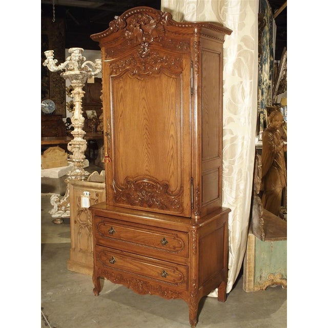 Carved Oak Wedding Cabinet and Chest of Drawers From Normandy, Early 1900s For Sale - Image 13 of 13