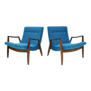 Milo Baughman Scoop Lounge Chairs in Knoll Upholstery - a Pair For Sale