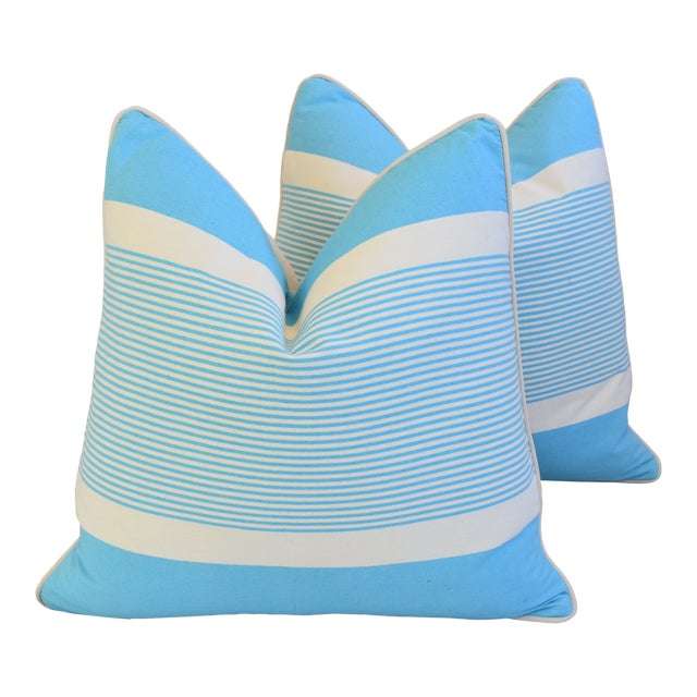 """French Blue & White Nautical Striped Feather/Down Pillows 22"""" Square - Pair For Sale"""