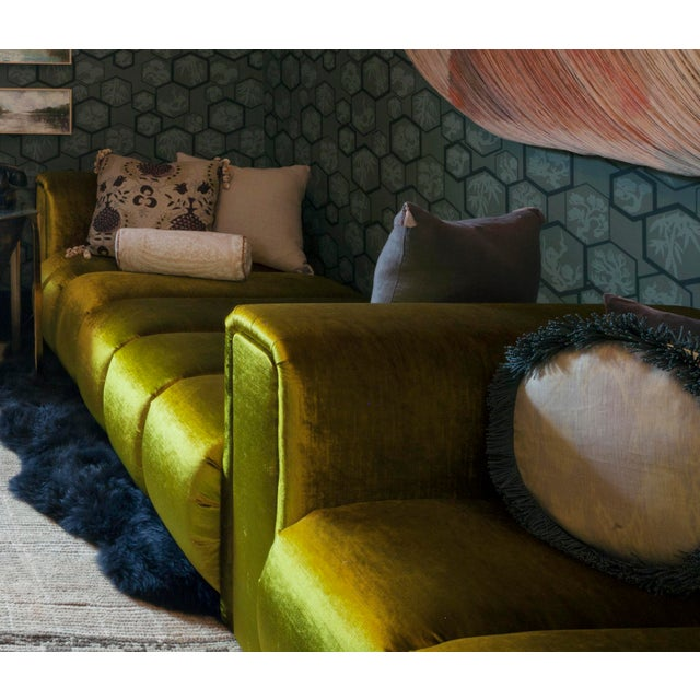 Textile Custom Velvet Channel Tufted Double Lounge Daybed For Sale - Image 7 of 11