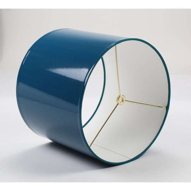 Not Yet Made - Made To Order Large Teal High Gloss Drum Lampshade For Sale - Image 5 of 7