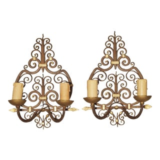 Pair of Wrought Iron French Sconces With Gilt Highlights, 1940s For Sale