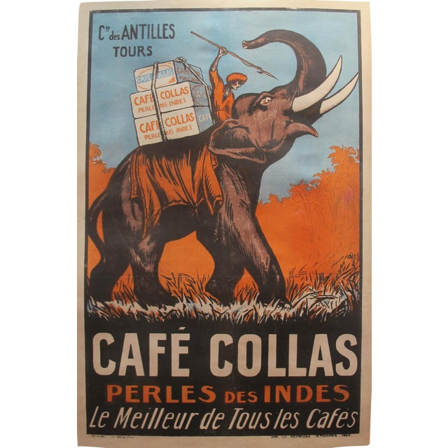 1927 Cafe Collas Elephant French Coffee Poster - Image 1 of 4