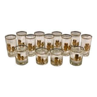 Gilt Owl Bar Glasses - Set of 13