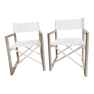 Restoration Hardware Teak Outdoor Director's Chairs - a Pair For Sale