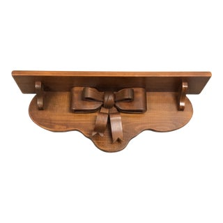 20th Century Country Handcrafted Kitchen Handmade Bow Shelf For Sale