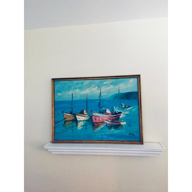 Mid-Century Modern Vintage Mid Century Modern Boats in a Harbor Signed Framed For Sale - Image 3 of 3