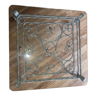1990s Iron and Glass Coffee Table For Sale