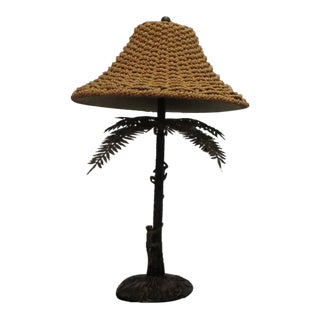 Maitland Smith Monkeys Climbing Palm Tree Bronze Lamp For Sale