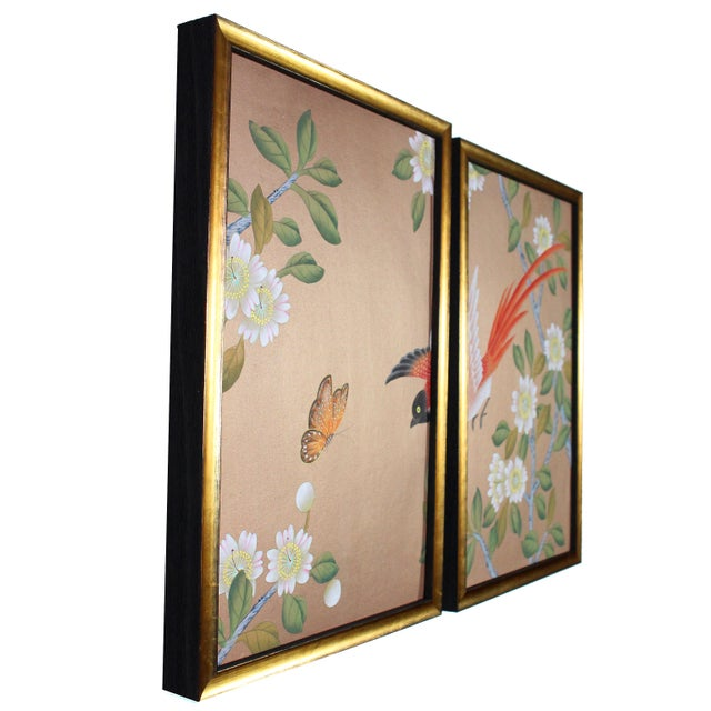 Rose Gold Silk Chinoiserie Wallpaper Diptych Paintings - 2 Pieces For Sale In Los Angeles - Image 6 of 8