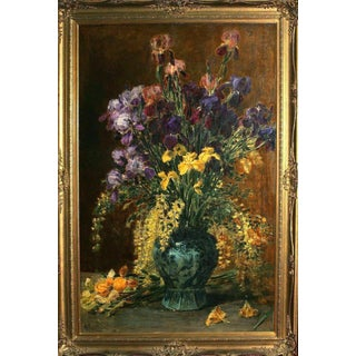 Late 19th Century French Irises by Alexis Kreyder Oil Painting For Sale