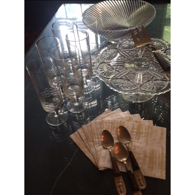 MCM Geometric Etched Champagne Flute Set - 6 - Image 8 of 8