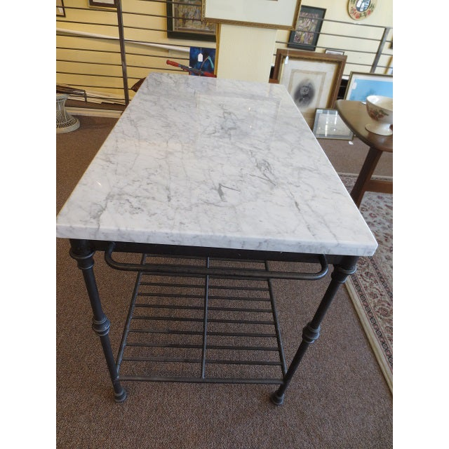 Marble Top Metal Base Kitchen Island - Image 4 of 9
