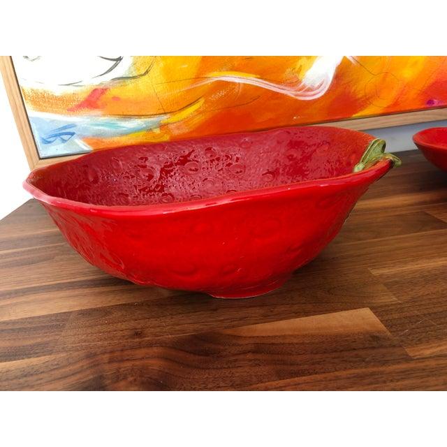 Folk Art Large Italian Majolica Strawberry Bowl For Sale - Image 3 of 11