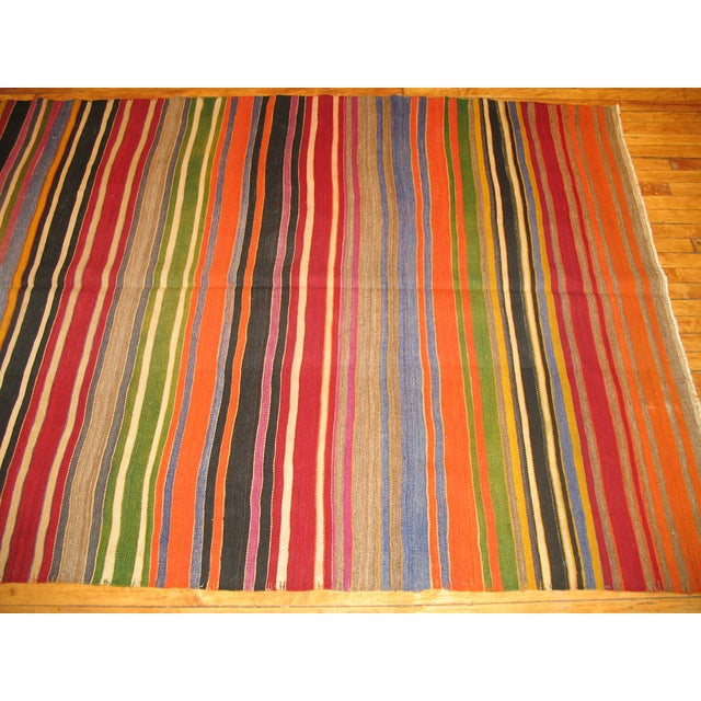 Boho Chic Multi-Colored Striped Turkish Kilim Rug For Sale - Image 3 of 3