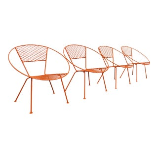 Set of 4 Mid-Century Modern Atomic Salterini Style Outdoor Circle Hoop Chairs For Sale