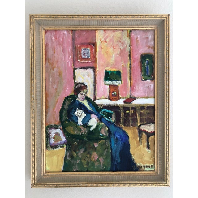1980s Woman With Cat Oil Painting For Sale In San Francisco - Image 6 of 6