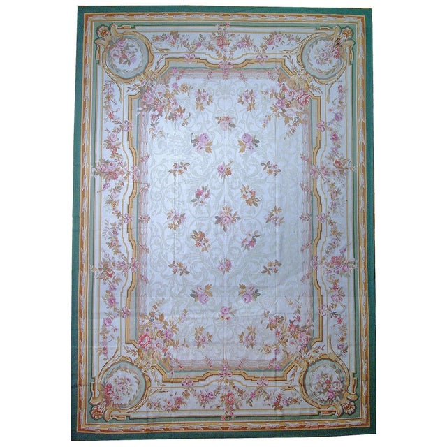 "French Pasargad Aubusson Hand Woven Wool Rug - 8'11"" X 12' 2"" For Sale - Image 3 of 3"