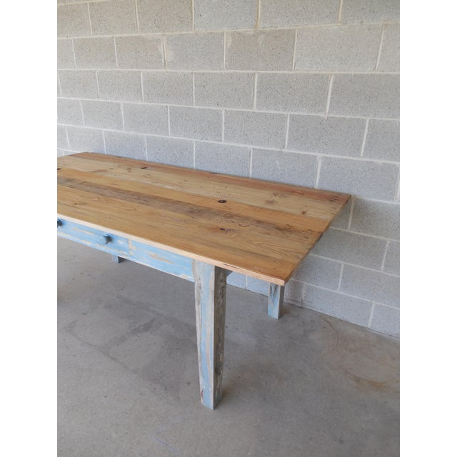 Reclaimed Thin Board Rustic Farm Dining Table - Image 4 of 8