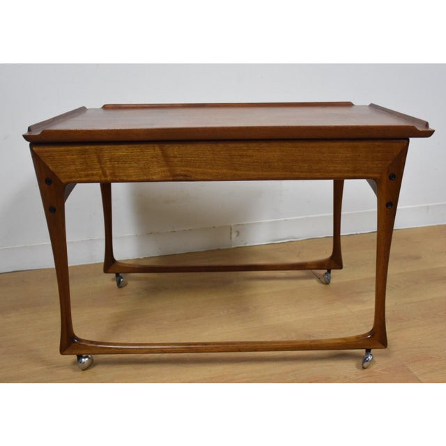 Ingvard Jensen Rolling Teak Bar Cart - Image 6 of 11