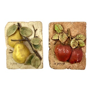 Hand Painted French Fruit Plaques - Set of 2 For Sale