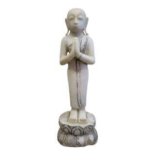 19th century Burmese Alabaster Buddhist Monk Statue For Sale