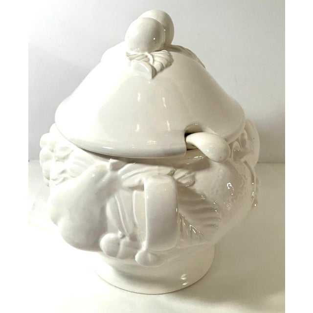 Beautiful Cream Colored Ceramic soup tureen by Out and Back. Raise Figural fruit Design. Made in Japan and includes the...