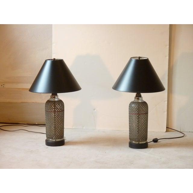 Art Deco Selzer Bottle Lamps - A Pair For Sale - Image 4 of 4