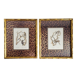 Faux Bamboo Framed Monkey Prints-A Pair For Sale