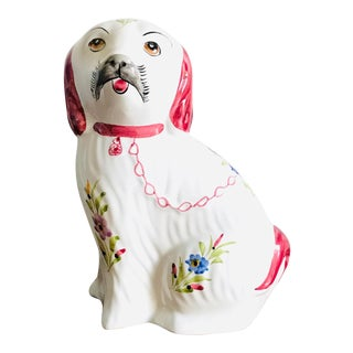 Vintage Hand Painted Floral Chinoiserie Chintz Staffordshire Dog For Sale