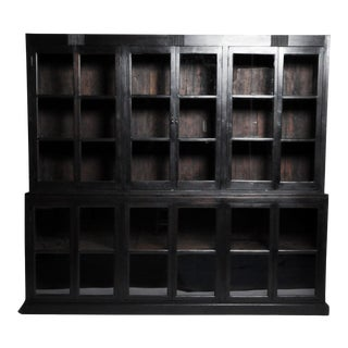 1940s British Colonial Teak Wood Breakfront Bookcase For Sale